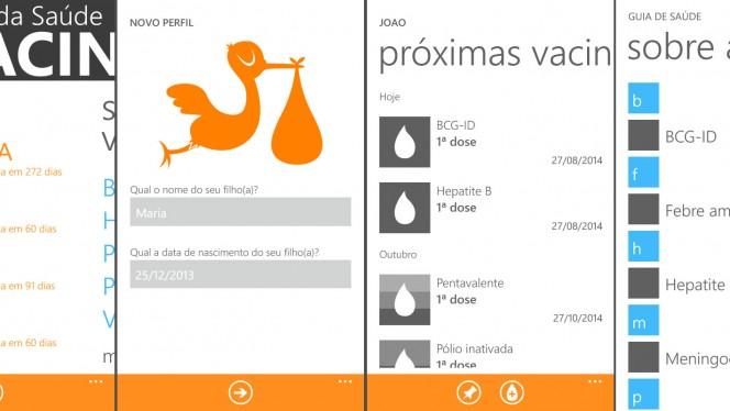 Vacinas tem navegação fácil, similar ao Windows Phone