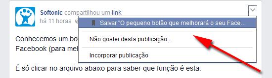 Botão Salvar guarda links e posts para ler mais tarde