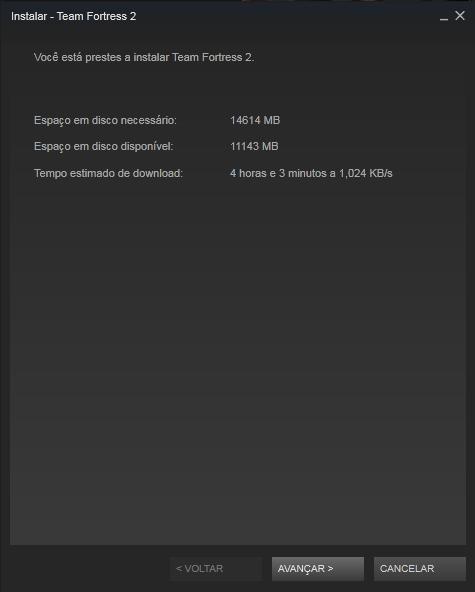 Processo de instalação de um game no Steam