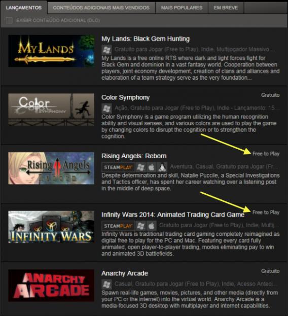 Procure os títulos do Steam marcados como Free to Play