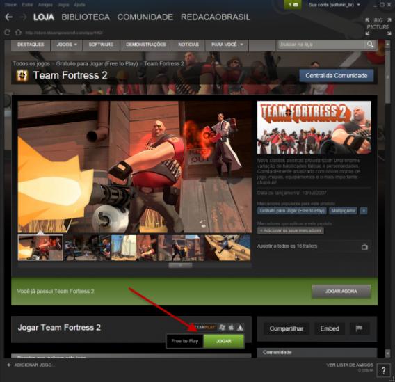 Clique no botão verde Jogar para iniciar a instalação do game