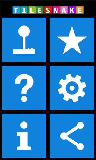 Interface do TileSnake no Windows Phone