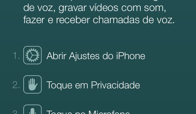 Alerta no WhatsApp para iOS sugere chamadas de voz no app
