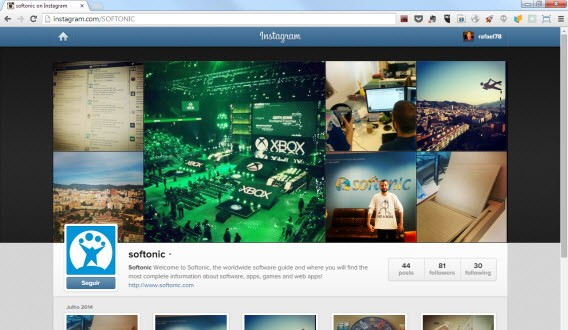 Instagram do Softonic no Google Chrome