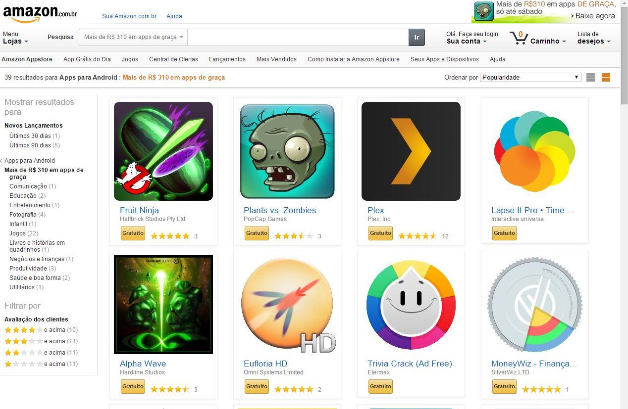 Apps grátis na Amazon App Store