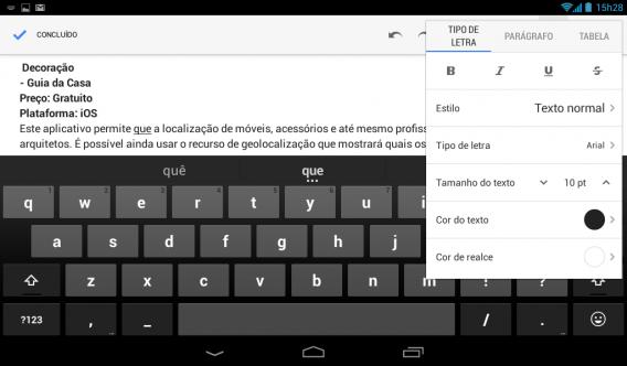 Google Docs para celular e tablets
