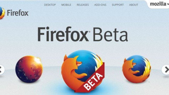 Firefox beta header
