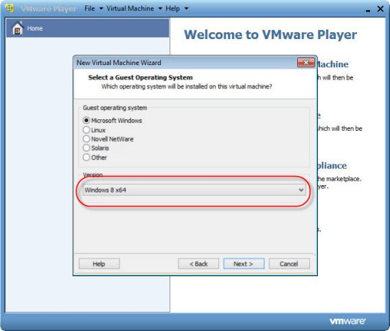 Windows 8 serve como referência para o VMware Player