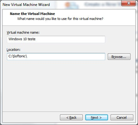 Dê um nome para a máquina virtual e defina onde serão gravados os arquivos