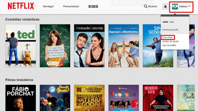 Acesse suas opções de conta no Netflix