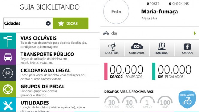 Interface do app Bicicletando
