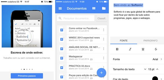Interface do Documentos Google para celular