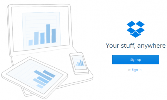 Interface do Dropbox online
