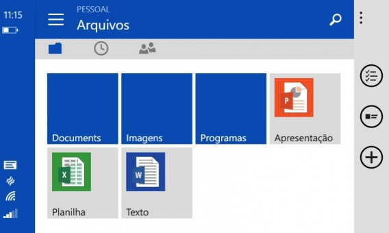 Interface do OneDrive