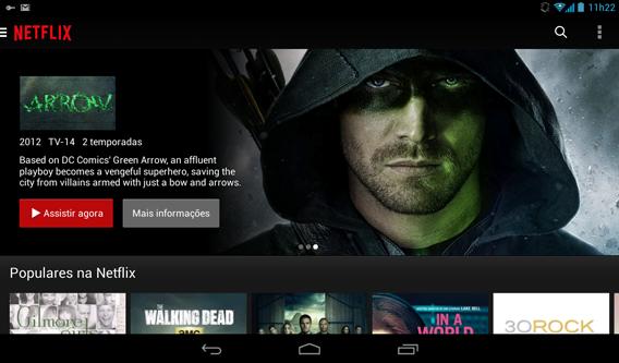 Tela principal da Netflix para Android