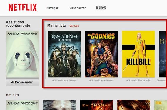 Minha lista na Netflix