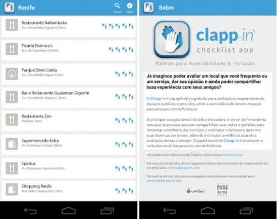 Imagens do app Clapp-in