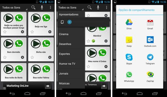 Telas do app Sons Engraçados Humor Brasil para Android