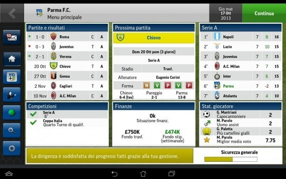 Interface do Football Manager Handheld 2015