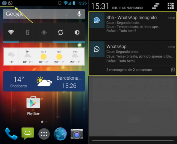Com o Shh - Hide Double Blue Double Check aparecem duas notificações do WhatsApp
