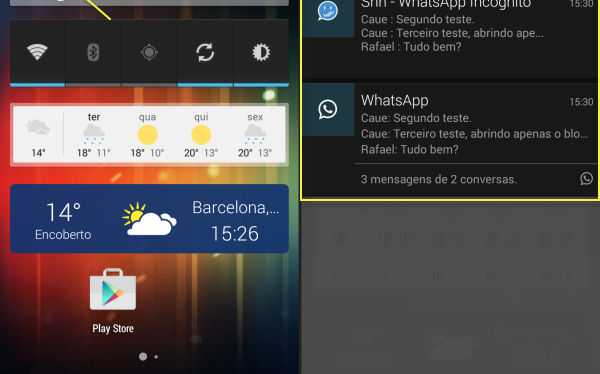 Com o Shh – Hide Double Blue Double Check aparecem duas notificações do WhatsApp