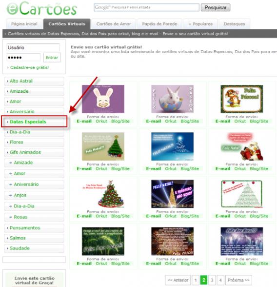 Entre na seção de Datas Especiais para enviar um cartão virtual de Natal