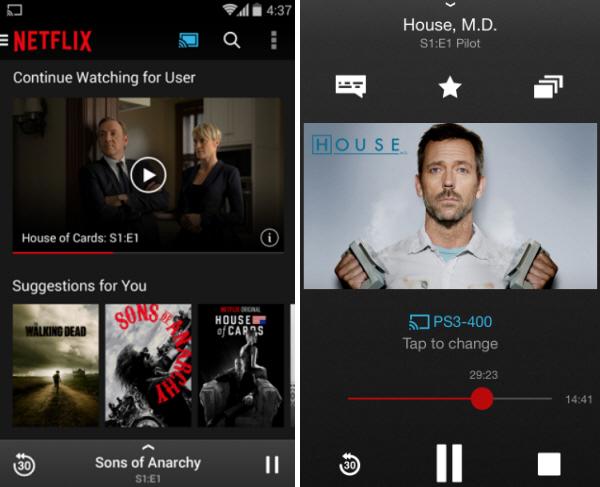 Tela de sincronização do Chromecast