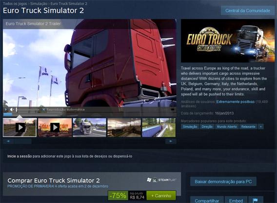 ETS2 está em promoção no Steam