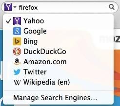 Opções de buscadores do Firefox