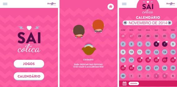 Imagens do app Sai Cólica