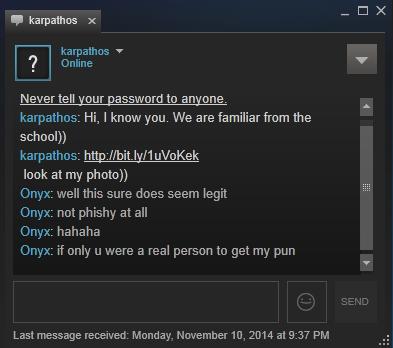 Exemplo de conversa suspeita no chat do Steam