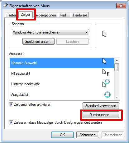 mauszeiger design windows 7