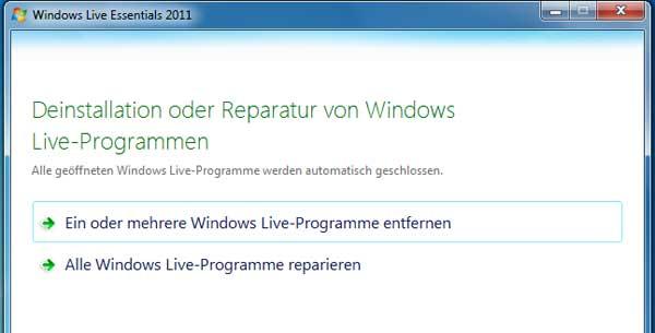 Windows Live Messenger 2011 deinstallieren