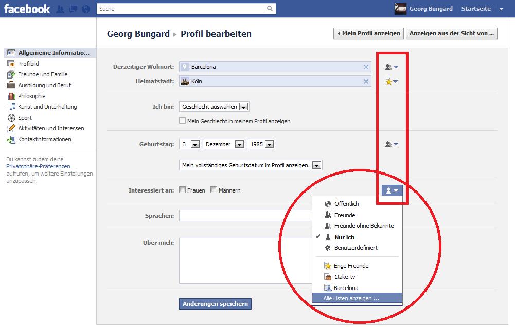 Privatsphäre-Einstellungen auf Facebook: Pinnwand
