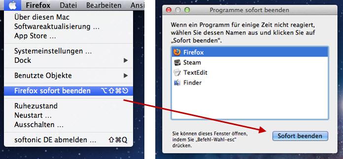 Mac-Taskmanager mit der Aktivitätsanzeige