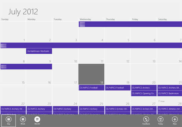 Windows 8 Kalender