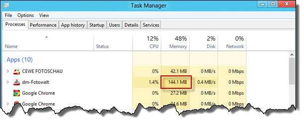 Windows 8 Task-Manager Leistung