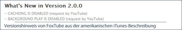 eingeschränkte YouTube-Funktionalität