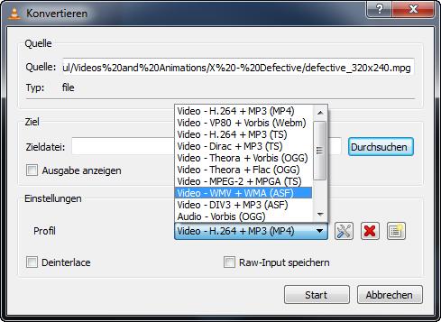 VLC Videos und Audio konvertieren