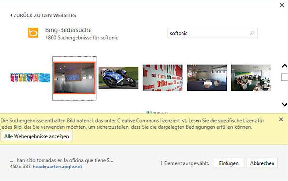 Microsoft Powerpoint 2013 Internet-Bildersuche