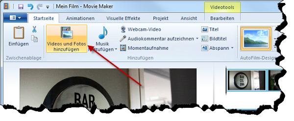 Windows Movie Maker Fotos hinzufügen