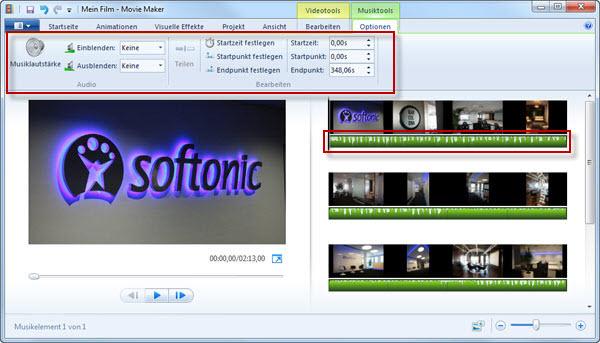 Windows Movie Maker Musik bearbeiten