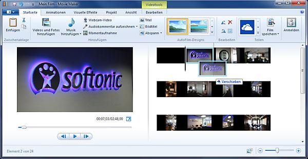 Windows Movie Maker Timeline bearbeiten