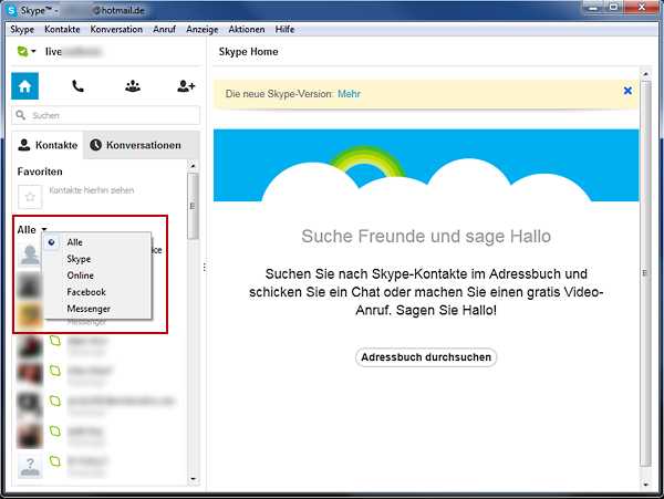 Skype - Kontakte filtern