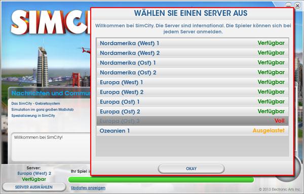 SimCity: Server wechseln