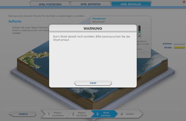 SimCity: Stadt erstellen fehlgeschlagen