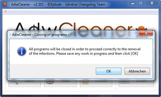 AdwCleaner - Programm schließen