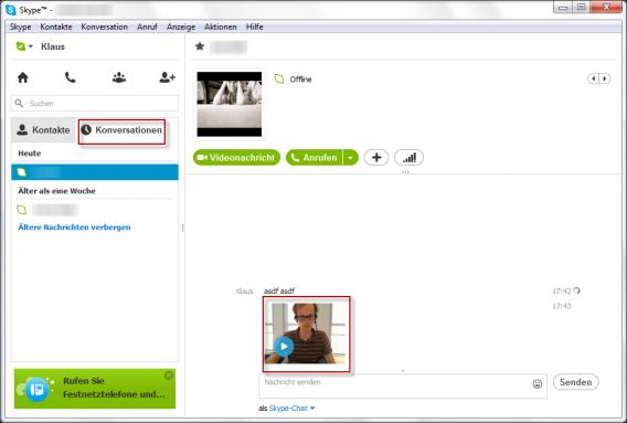So versenden Sie Videonachrichten mit Skype