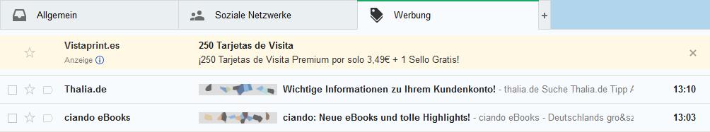 Google Mail GMail Werbung als E-Mail getarnt
