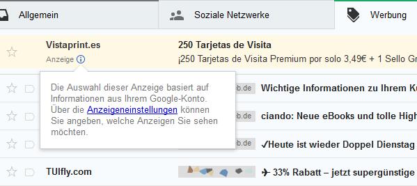 Google Mail GMail Werbung deaktiveren